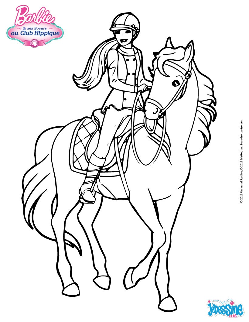 Coloriages barbie sur son cheval - Coloriage chevaux ...