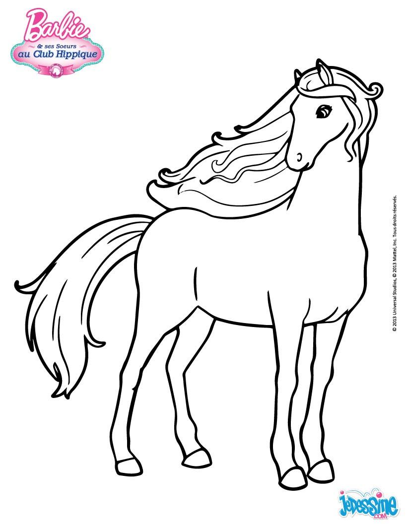 coloriage barbie le cheval de barbie