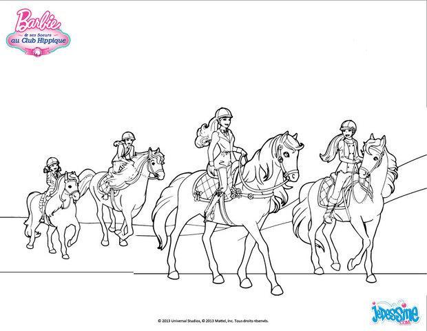 coloriages barbie et ses soeurs en balade cheval frhellokidscom - Coloriage Barbie Cheval