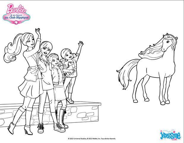 Coloriages barbie et ses soeurs saluent leur cheval fr - Coloriage barbie cheval ...