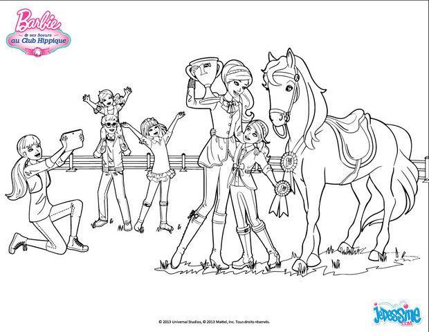 Coloriages la remise de la coupe - Barbie chevaux ...