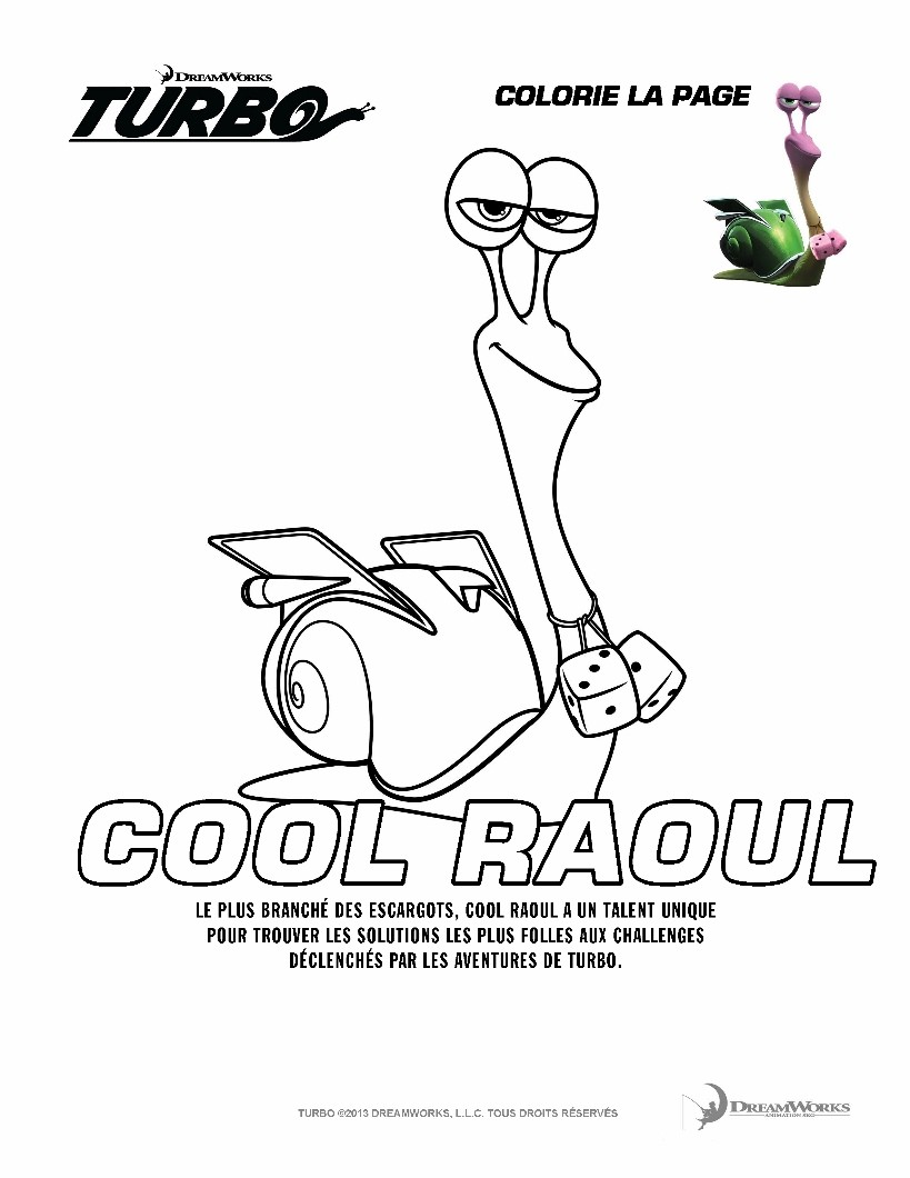 Coloriages cool raoul - Coloriage escargot turbo ...