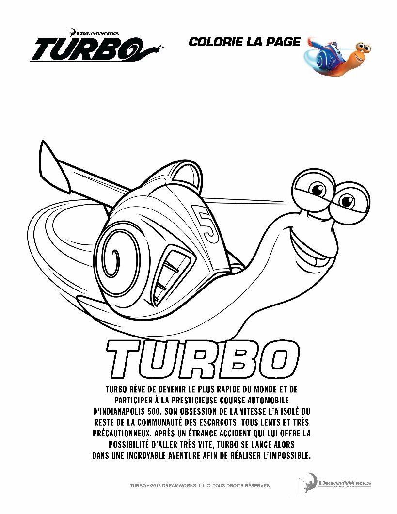Coloriages turbo - Coloriage escargot turbo ...