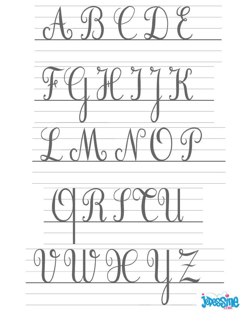 Comment dessiner les lettres cursives majuscules - Lettre de l alphabet en majuscule a imprimer ...