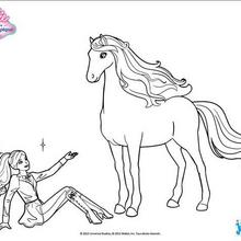 Coloriage Barbie : Barbie assise à côté de son cheval