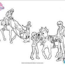 Coloriage Barbie : Barbie et ses soeurs prennent soin de leurs chevaux