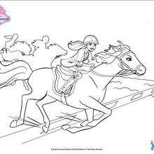 Coloriage Barbie : Barbie et son cheval au galop