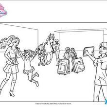 Coloriage Barbie : L'arrivée au club hippique