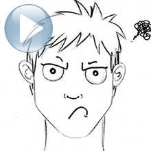 Dessiner une expression du visage : un visage grognon
