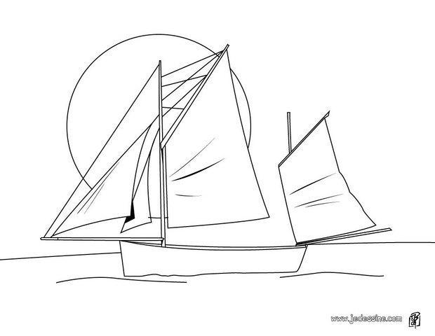 Coloriages coloriage d 39 un bateau 3 voiles - Dessin de bateau ...