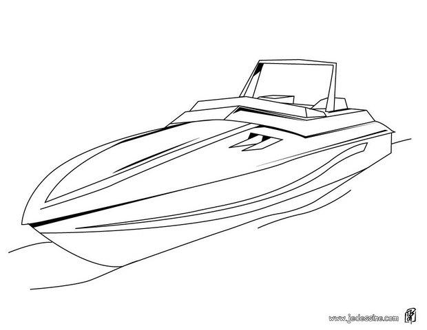 Coloriages coloriage d 39 un bateau moteur - Dessin bateau enfant ...