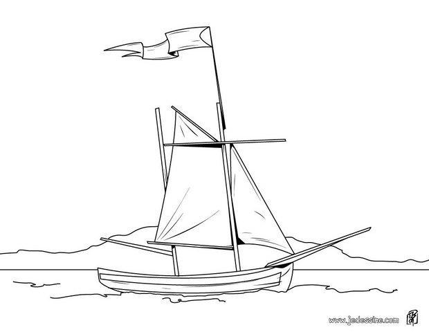 Coloriages coloriage d 39 un bateau et son pavillon blanc - Dessin d un bateau ...