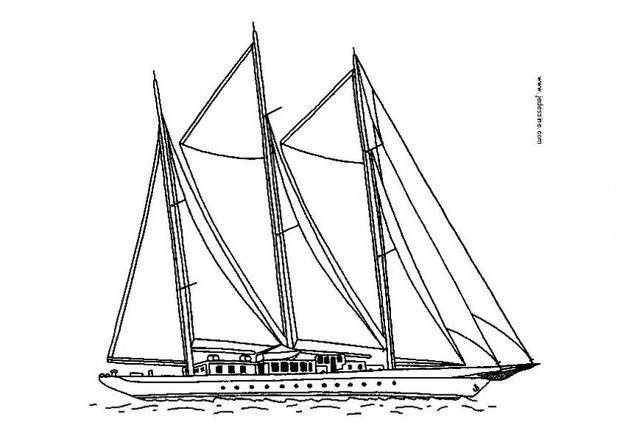 Coloriages coloriage d 39 un grand bateau voiles fr - Dessin d un bateau ...