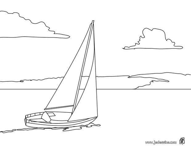 Coloriages coloriage d 39 un voilier en mer - Dessin petit bateau ...