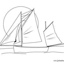 Coloriage d'un bateau à 3 voiles