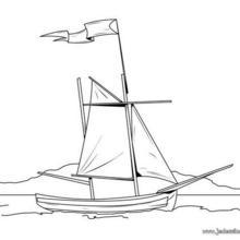 Coloriage d'un bateau et son pavillon blanc