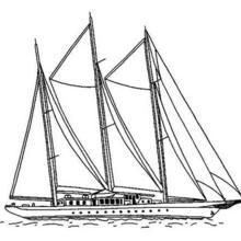 Coloriage d'un grand bateau à voiles