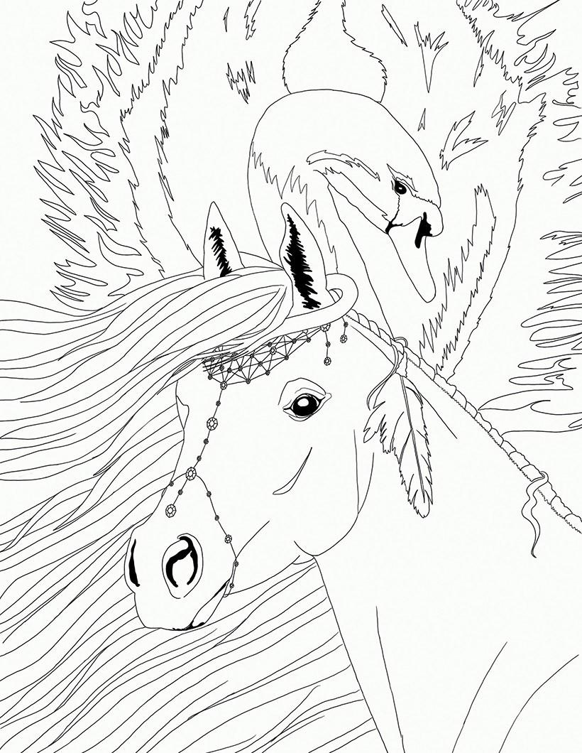 Coloriages cheyenne et le cygne bella sara - Coloriage de chevaux en ligne ...