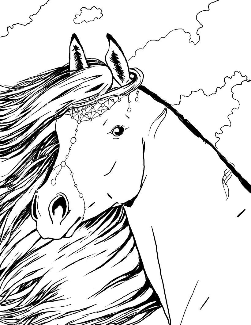 Coloriages portrait de cheyenne bella sara - Coloriage chevaux ...