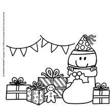 Coloriage : Les cadeaux de Noel de Monsieur Heureux