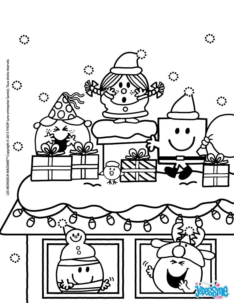 Coloriages joyeux noel sous la neige - Coloriage de monsieur madame ...