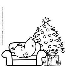 Coloriage : Le sapin de Noel des monsieur madame