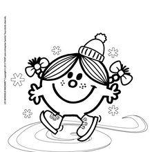 Coloriage : Madame Bonheur fait du patin à galce
