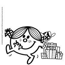 Coloriage : Madame Bonheur et ses cadeaux de Noel
