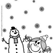 Coloriage : Le bonhomme de neige de Madame Bonheur