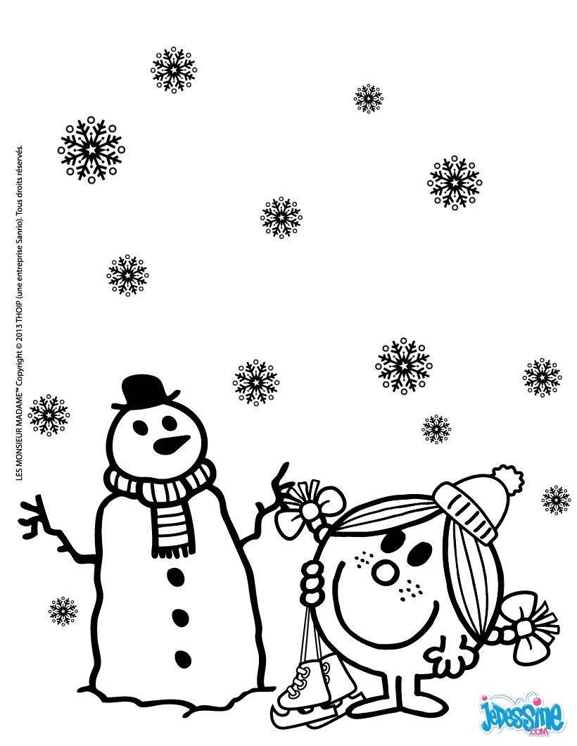 Coloriage Le bonhomme de neige de Madame Bonheur