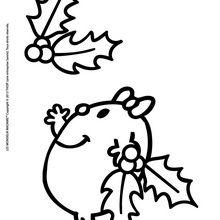 Coloriage : Madame Petite et les feuilles de houx