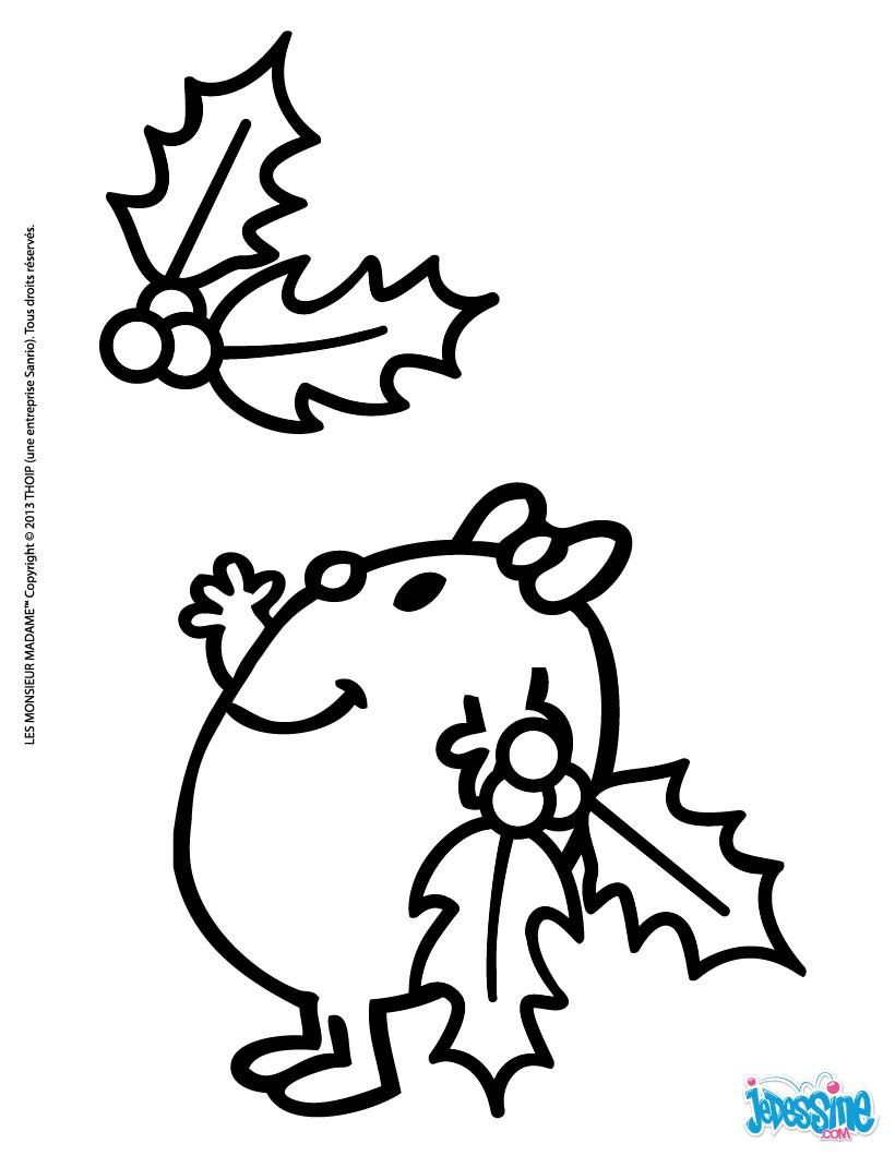 Coloriages madame petite et les feuilles de houx fr - Feuille de coloriage ...