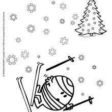 Coloriage : Monsieur Malchance fait du ski
