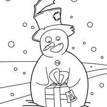 Bonhomme de neige et son cadeau