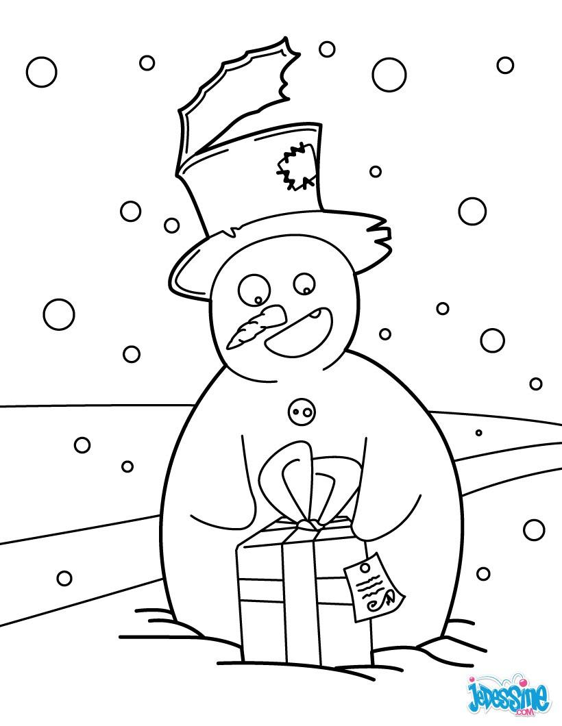 Coloriage Bonhomme de neige et son cadeau