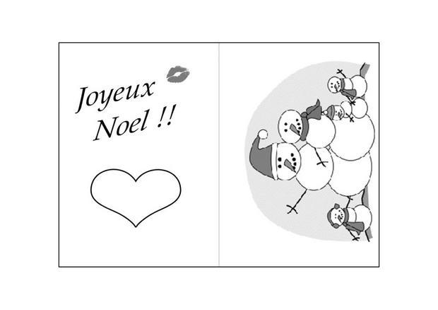 Coloriages la famille bonhommes de neige - Carte de noel a colorier ...