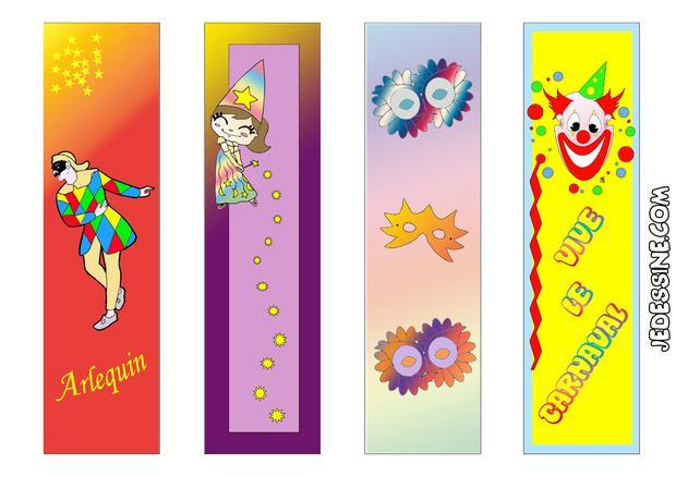 Coloriages 4 signets pour le carnaval - Fabrication de marque page ...