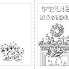 Carte à colorier : Carte Joyeux Noël Anglais à colorier