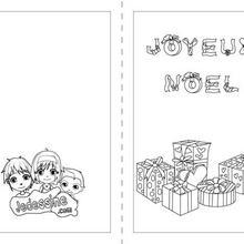 Carte à colorier : Carte Joyeux Noël cadeaux à colorier
