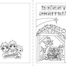 Carte à colorier : Joyeux Noël Anglais carte à imprimer