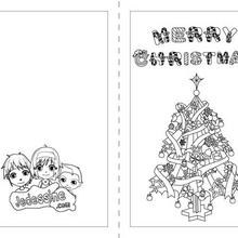 Carte à colorier : Merry Christmas et le sapin