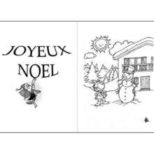 Coloriage : Le bonhomme de neige et le petit garçon