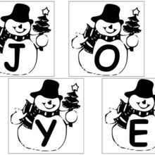 Coloriage : Lettres Bonhomme de neige - 1