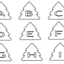 Coloriage : Lettres en Sapin : de A à I
