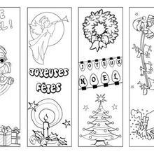 Marque-page : 4 signets de Noël à colorier