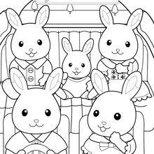 Coloriage : La famille lapin en voiture