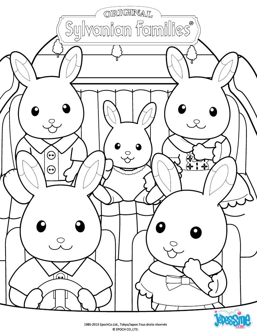 Coloriages la famille lapin en voiture - Coloriage de la famille ...