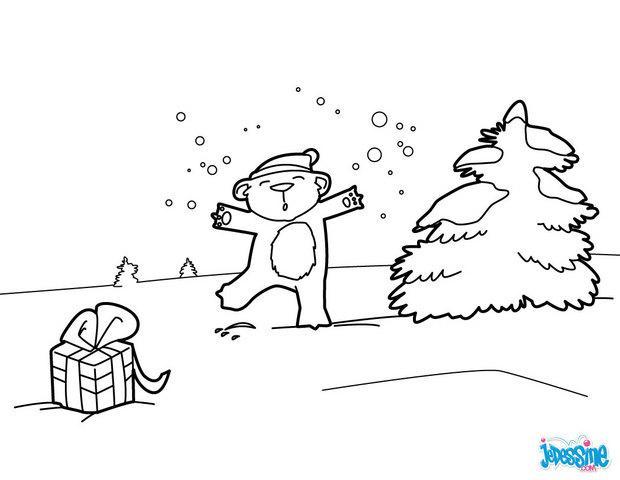Coloriages ourson sous la neige - Dessin ourson ...
