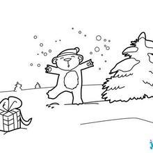 Coloriage : Ourson sous la neige
