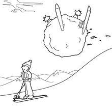 Coloriage : Chute à ski